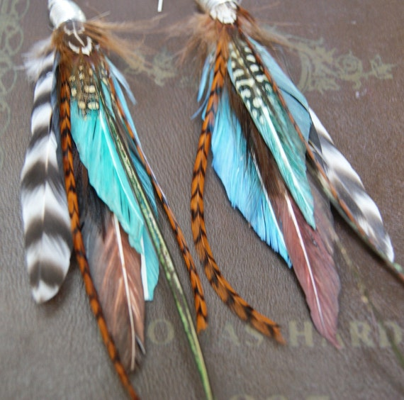 Long Tribal Feather Earrings