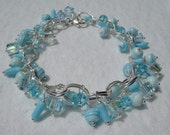 Reserved for Kate Swarovski Cubes Blue Crystals Bracelet SURFSIDE OOAK