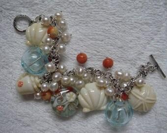 Sale 25% off original price Lampwork Pearls Hill Tribes Silver Bracelet Life's a Beach OOAK