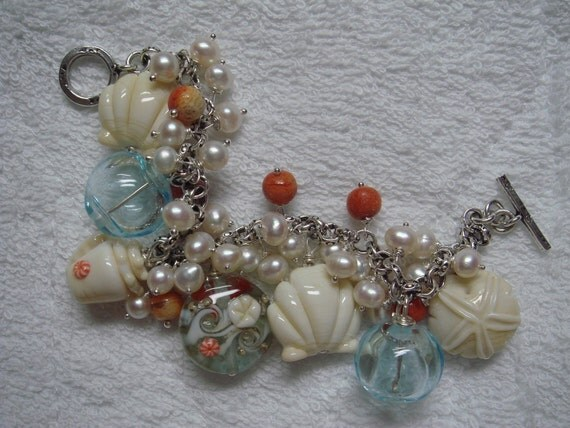 Sale 25% off original price Lampwork Pearls Hill Tribes Silver Bracelet Life's a Beach OOAK