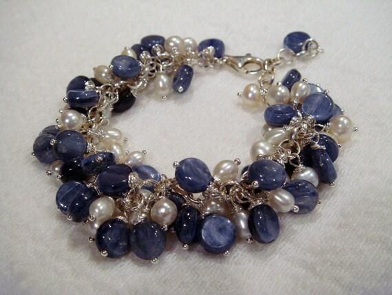 Kyanite Pearls Bracelet I See the Ocean in Your Eyes OOAK
