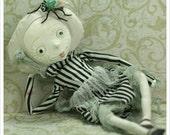 OOAK Art Doll - GLOW Graveyard Fancy with Fly Friend - Grey Green Black - Fairy Tale Fantasy Folk Art