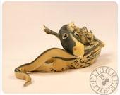 DRAGON Art Doll - ooak Dragon Sculpture-  Fantasy Art -Dragon Figurative Sculpture - Dragonfly - Cream Teal Black Gold - the Filigree