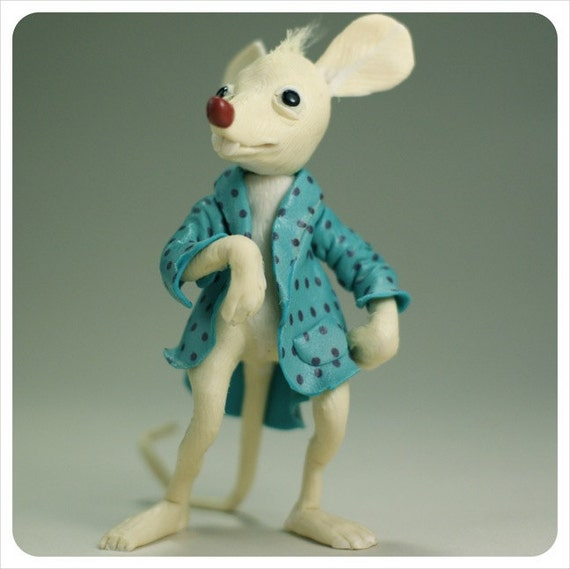 REServed - OOAK Art Doll - Rat Mouse - Blue White -  Fairy Tale Figurative Scupture