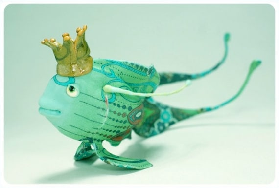 OOAK Art Doll Fish Curiosity  - GLOW Green Blue Red Gold -  Fairy Tale FANTASY Figurative Sculpture
