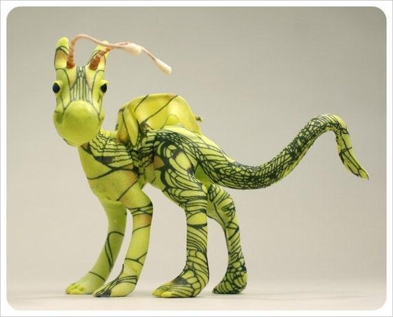 OOAK Art Dragon Creature - Green Apple Granny Smith - Art Doll Fairy Tale FANTASY Figurative Sculpture
