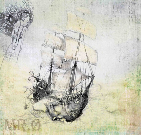 Nautical Ship Art Print - Steampunk Art Print - giclée Fine Art PRINT - Fantasy Art Childrens - Ship - Fairy Tale Art