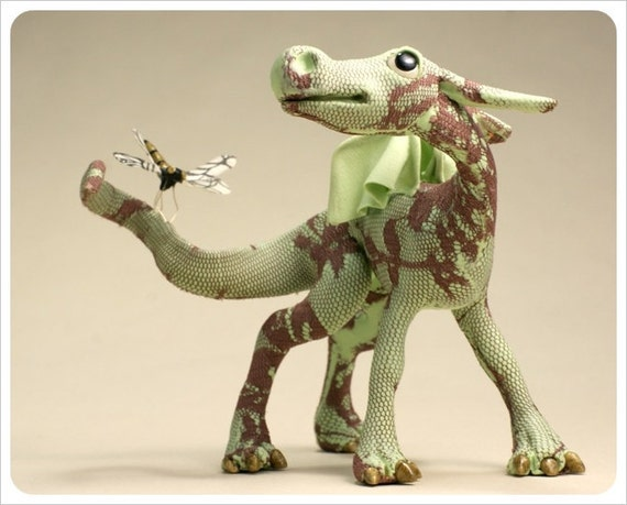 OOAk Dragon Pup Art Doll  - Green Golden Burgundy Mauve with Dragonfly Friend-  Fairy Tale Figurative Sculpture