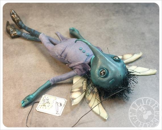 Petite Pest - Mosquito -  ooak Art Doll - Handmade Fairy Tale doll by the Filigree - Purple