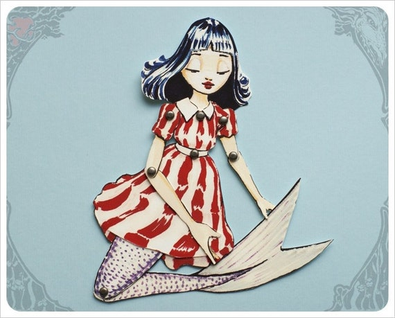 Articulated Mermaid Paper Doll handmade by the Filigree - Red White blue Stripe