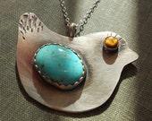 Bird Bling  --sterling handforged pendant