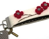 cream flower wristlet keychain fob made from vintage sweaters