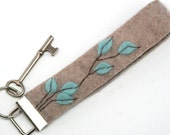 Eco Friendly Turquoise Leaves Design Key Chain Wristlet Handmade From Vintage Wool and Cashmere Sweaters