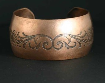 Copper Cuff Bracelet / Copper Bracelet / Etched Copper Cuff / Etched Bracelet