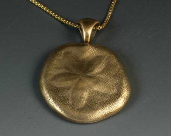 Pure bronze  sand dollar necklace, beach jewelry, nautical design