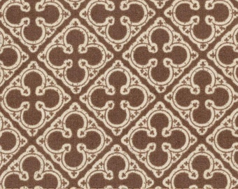 Michael Miller Antiquity Quatrefoils Fabric-Tan and Brown