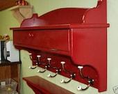 """Coat Rack Glove Storage Red Shelf 42"""" w/ Brass and Porcelain"""