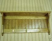 Wood Coat RAck Wall Shelf Oak with Brass Hooks