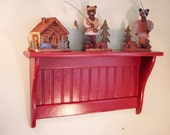 "Wood Display Wall Shelf 24"" No Hooks Red"
