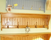 42 Inch Solid Oak Coat Rack With Antique English Brass Hooks