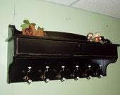 Coat Rack Glove Storage Unit Wall Shelf Wood Distressed Black Primitive Rustic