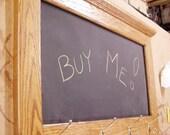 Solid Oak Chalkboard Message Center Coat Rack