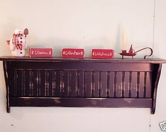 """Wood Coat Rack Country Primitive Wall Shelf Distressed Country Rustic 42"""" Wall Hanging"""