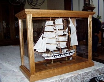 Model Ship Display Case Cabinet Oak