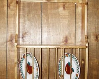 Pine Plate Rack Wall Shelf