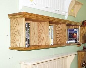 DVD Wall Cabinet Oak Wood Wall Hanging Storage Unit Display Rack