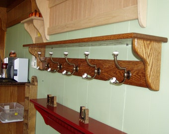 Coat Rack Wall Shelf Open Back with Brass and Porcelain