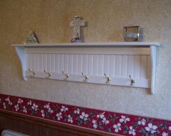 """Country Coat Rack Hanging Wall Shelf White 48"""" Long"""