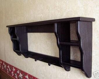 Wall Shelf Knick Knack Display Shelf Oak Painted Black