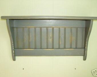 Antiqued Primitive Wood Wall Shelf Coat Rack No Hooks Blue
