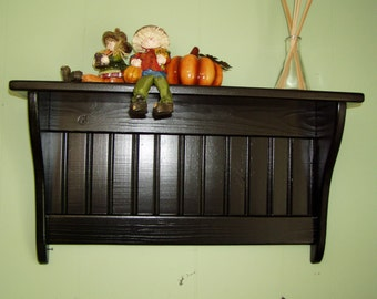 Wood Wall Shelf Display 24 Inches Pine Painted
