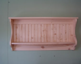 "Primitive Country Shelf and Plate Rack Unfinished 42"" Rustic Unfinished Wood"