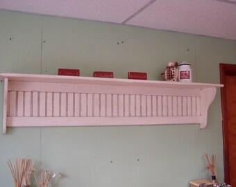 "60"" Pine Coat Rack 9"" Deep Antiqued Distressed White Display Shelf"