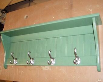 36 Inch Pine COat Rack Wall SHelf with Fancy Satin Chrome Hooks