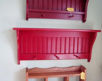 "Wood Wall Shelf Shaker Style Country Coat Rack 30"""