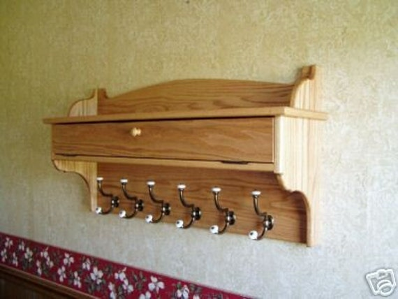 "Coat Rack Glove Storage Oak Wall Shelf 48"""