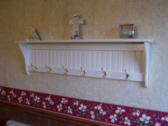Country Coat Rack Hanging Wall Shelf White 48 Long