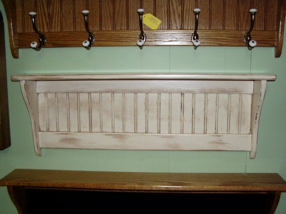 Wood Shelf Distressed White Antiqued Wood By