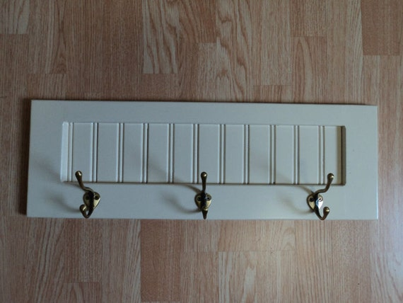 Wood Coat Rack Wall Hanging with Hooks Antique White