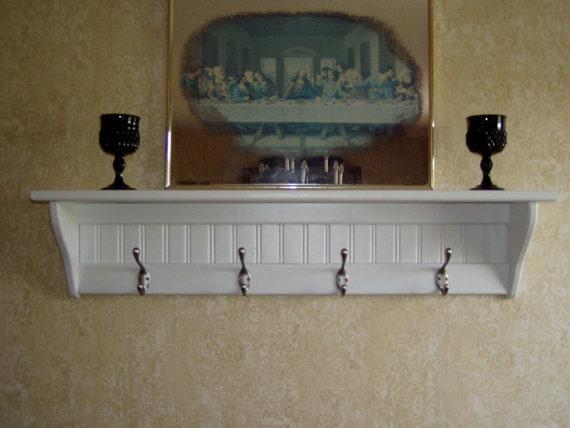"Wood Coat rack  Wall Shelf with satin Chrome Hooks 36"""