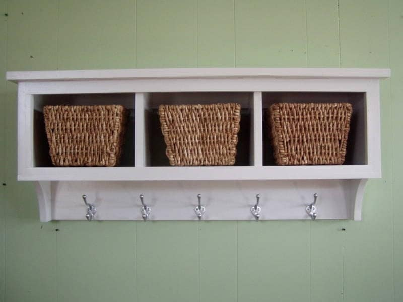 cubby wall shelf country shelf for baskets by appletreewoodcrafts. Black Bedroom Furniture Sets. Home Design Ideas