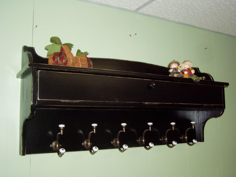 coat rack glove storage unit wall shelf wood distressed black. Black Bedroom Furniture Sets. Home Design Ideas