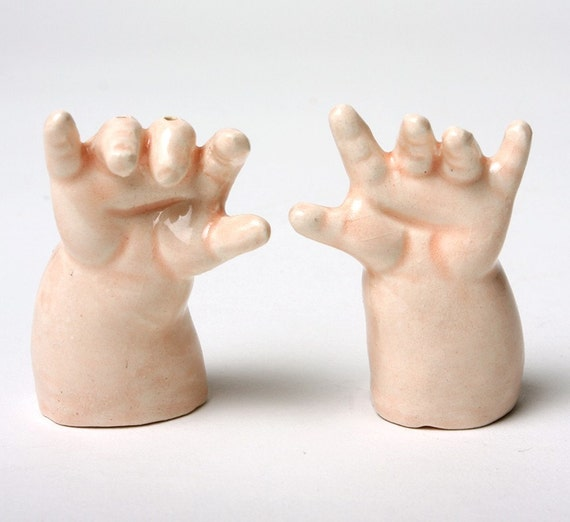 Baby Hands Ceramic Salt and Pepper Shakers - Help Them Please