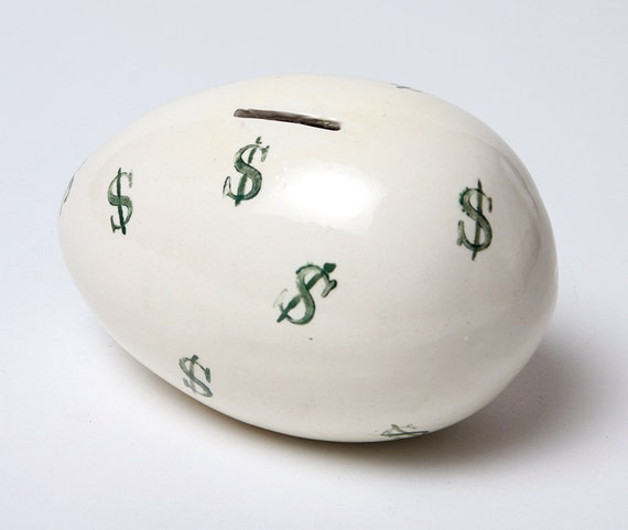 Egg Coin Bank Ceramic Scrooge McDuck or Uncle Scrooge Version