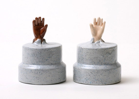 Hands Emerging from Pillars Salt & Pepper Shakers - Reach Out and Touch Someone