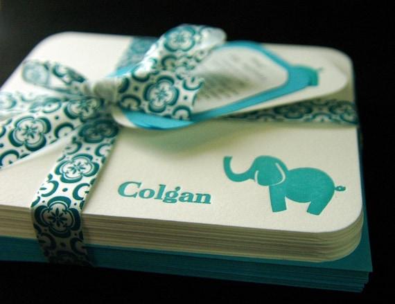 Custom Letterpress Elephant Cards